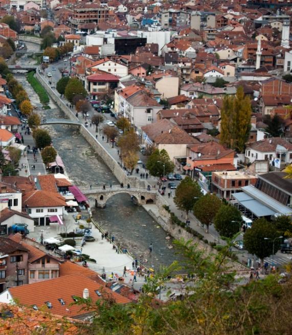 river in the touristic town of Prizren in Kosovo